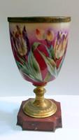 Antik Francia Porcelán Váza Márvány Aranyozott Bronz és kézzel festett Tulipán díszítéssel