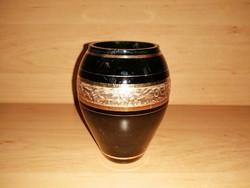 Moser típusú arany díszítésű fekete üveg váza 11 cm  (22/d)