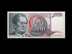 UNC - 5000 DINÁR - JUGOSZLÁVIA - 1985 (Egyik utolsó Titós bankjegy)