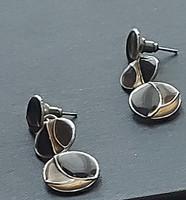 Tűzzománc fülbevaló, három részből álló, beszúrós, elegáns szinkombináció