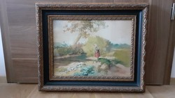 Neogrády Antal: Kislány a patakparton,akvarell
