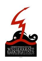 Minimalista plakát reprint nyomat Klinger osztrák elektromos művek erőmű hullámok Zeusz villám hal