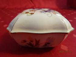 Zsolnay porcelán, búzavirágmintás bonbonier.