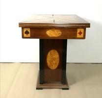 Intarziás játékasztal, kinyitható sakk vagy kártyaasztal 1920-30 körül