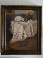 Pólya Iván: Asztali csendélet cicákkal