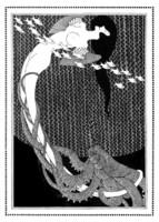 Szecessziós női akt polippal és halak Klinger 1908 reprint nyomat, tengeri lény geometrikus minta