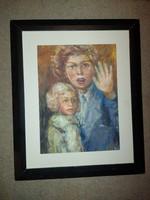 Váczi Lajos tempera festmény, kb.38x48 cm, 40x50-es fészkű keretben