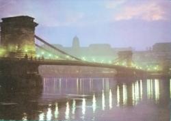 Magyarország,Budapest,Lánchíd,Látkép,használt képeslap,1973