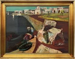 Vásárhelyi Kovács Tibor (1924-1997) Tengerpart Képcsarnokos festménye 90x70cm EREDETI GARANCIÁVAL !