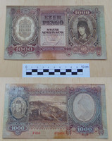 1000 pengő 1943 Szálasi kiadás  hátoldala lakkozott
