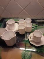 Arpocal Francia fehér kávéskészlet kiöntővel - 8 szögletű