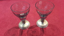 2db fémtalpas üveg pohár