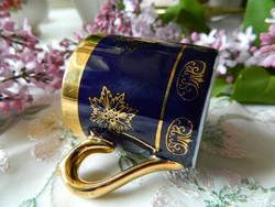 Régi Altwien mokkás csésze, kobalt, arany