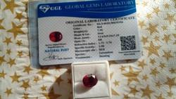 Természetes 7.95 karátos rubin drágakő tanúsítvánnyal
