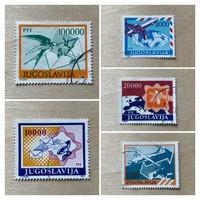Jugoszlávia 1989 - Postai szolgáltatások 5db bélyeg - díjmentes postázás