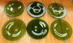 Vintage zöld nehéz üveg süteményes tányér készlet