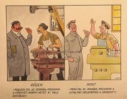 Gerő Sándor (1904-1977) Régen és most karikatúra Technika: vegyes technika, papír Méret: 25,5 x 38 c