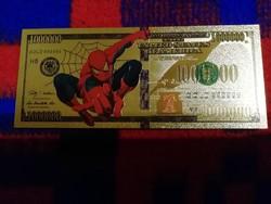 Új - színes + aranyozott, plasztik  Spiderman 1000000 $