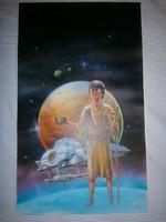 Szendrei Tibor eredeti festménye Robert A. Heinlein: A Galaxis polgára c. könyvéhez  48x30 cm, a kön