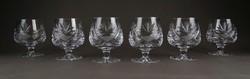 1E347 Régi talpas csiszoltüveg likőrös pohár készlet 6 darab