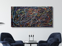 Vörös Edit: Jackson Pollock Style Abstract N21002 120x60cm