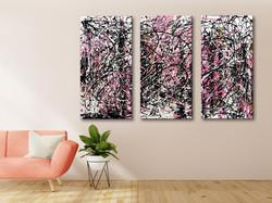 Vörös Edit: Jackson Pollock Style Abstract Set of 3 (3db x 120x60cm)