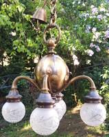 Artdeco bronz csillár, négy karú