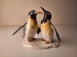 Ritka ENS porcelán pingvin pár szobor