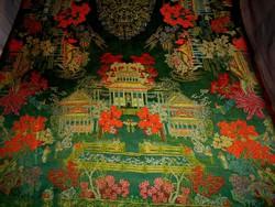 Kínai szőtt selyembrokát rojtozott terítő 136 cm X 96 cm  + rojt