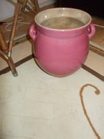 Zsolnay rósza szinű szilke, zsiros bödön, vagy padló váza