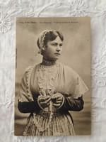 Antik francia képeslap/fotólap Bretagne-i csipke/fejdísz, hölgy csipkében 1910-es évek
