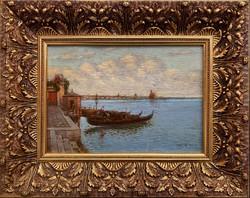 Teljes hagyaték aukción! Rubovics Márk (1867-1947) Velence olaj,karton festmény Gyönyörű 1 Ft-ról!