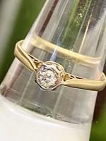 18 karátos arany, gyémánt, platina, antik gyűrű