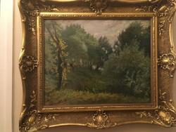 Erdő részletet ábrázoló szignózott festmény szép blondel kerettel .