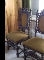 Reneszánsz vagy neoreneszánsz stílusú faragott antik íróasztal szék