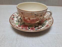 Zsolnay virágmintás kávés csésze + alj