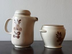 Orosz kávés kanna és cukortartó barna virágos kézzel festett mintával ismeretlen jelzéssel