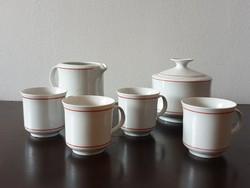 Piros csíkos Alföldi kávés készlet darabjai bögre csésze cukortartó bonbonier kiöntő