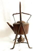 Antik német WMF 1925 k. ónozott vörösréz spiritusz teafőző állvány, vízforraló