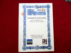 Historische Wertpapiere - Budapest, Bedő első értékpapír aukció katalógus - Vienna Hilton Hotel 1997