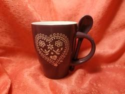 Kerámia csésze kanállal