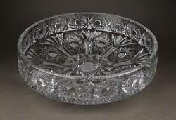 1E497 Hatalmas kristály üveg gyümölcskínáló tál 29.5 cm