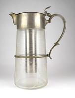 1E505 Antik 19.századi hatalmas hűtőbetétes üveg bólés kancsó 32 cm