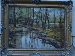 Eladó Balog(h) András: Erdei táj című olajvászon festménye