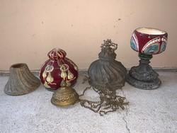 Antik fajansz petróleum lámpa testek, alkatrészek, nagyméretűek