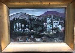 Gyönyörű alkotás! Molnár C. Pál festőművész – Itáliai táj című festménye – 162.