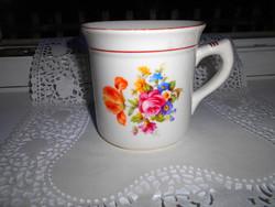 Hollóházi 1/2 literesnagy méretű porcelán rózsás, virágos mintával bögre