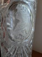 Hatalmas címkés Mátyás király profilképével gravírozott ólomkristály váza Hernling Crystal 24%