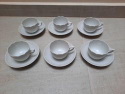 6 db Fehér Herendi kávés csésze + alj
