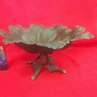 Antik Bronz Levél Formájú Asztalközép,Kínáló.